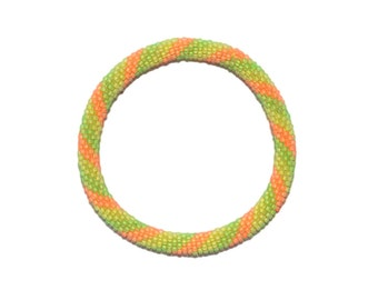 Neon Yellow,Green and Orange Crocheted Beaded Bracelet, Czech Seed Beads,Nepal,NB54
