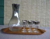 Vintage Silver Ombre Bar Set, Decanter with 6 Aperitif Glasses, Mid Century Modern Glassware