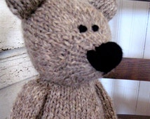 BEAR, hand spun yarn, wool, toy, organic, hand knitted, soft toy, eco friendly