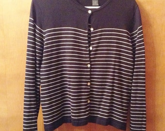 City Silk sweater set in B/W stripes.