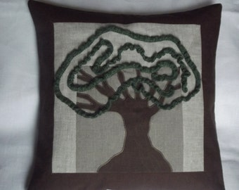 Decorative throw linen pillow brown gray cushion cover 20x20 cover washed linen tree applique