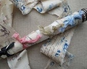 Vintage Wood Industrial Bobbin 4 Yards French Hand Stamped Ribbon Rachel Ashwell Tea Dyed Muslin