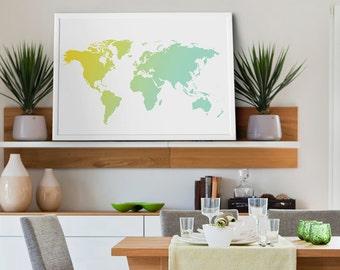 World Map Ombre Art Print, Yellow and Mint World Map, Child Wall Decor, World Map, Travel World Map, Art - XLarge - Medium