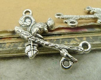 20PCS squirrel tree branch charm connector with 3 rings, antique bronze or antique silver, 17x23mm