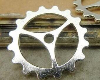 20PCS antique silver 23mm clock gear charm pendant- WC5322