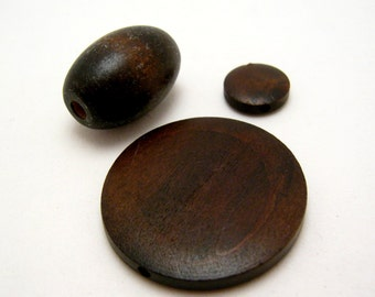 mixed lot of black wood beads
