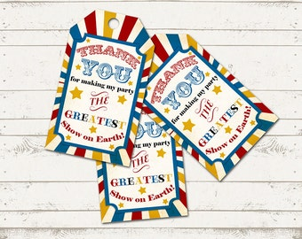 Instant Download Vintage Circus Thank You Tags - Retro Carnival - Stripes, Stars - 12 Tags per sheet - Printable Design