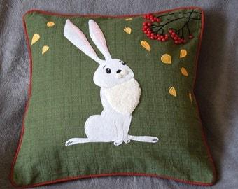 "Hare, rabbit cushion pillow cover ""Autumn Hare "", Handmade, appliqued, animal"