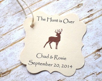 The Hunt is Over Favor Tags Wedding Favors Deer Favor Tags Hunting Wedding