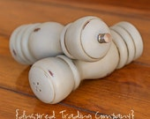CHOOSE YOUR COLOR - Painted,Distressed, Wooden Pepper Mill and Salt Shaker - Paris Grey