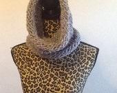 lavender/blue hued hooded infinity scarf