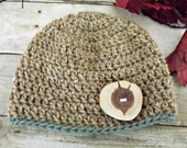 womens wool beanie hat with rustic wood button in tan and green