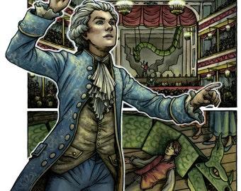 Wolfgang Amadeus Mozart, The Magic Flute Comic Illustration 11x17 - SALE