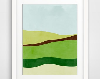Green Abstract Art, Mid Century Modern Art Print, Minimalist Poster, Abstract Landscape, Green Wall Art