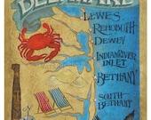 Delaware Beaches  Map style  Print  ,art,decor