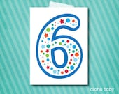 Birthday candle photo prop printable - number 6 boy