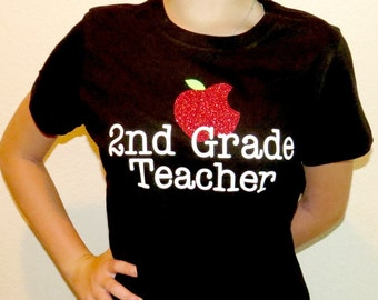 Customized Teacher T-Shirt with Glitter Apple