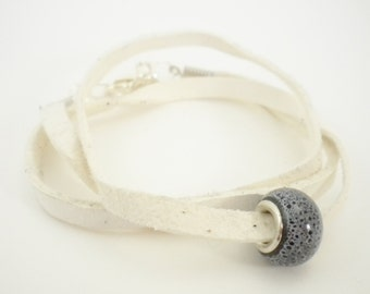 White Leather Convertible Wrap Bracelet with Black and White Bead / Necklace / Anklet