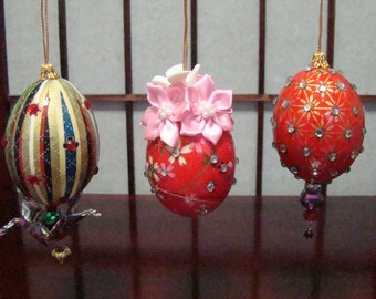E18,Handmade Washi Eggs, Japanese paper egg craft, Set of 3