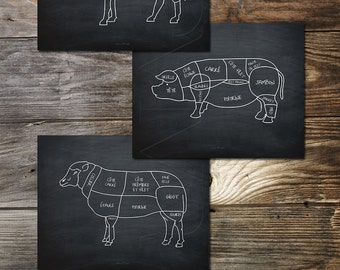 French Butcher Cuts Trio Butcher Shop Meat Cuts Large Kitchen Print Butcher Sign Poster Print Pig Beef Animal Butcher Diagram Cuts Of Meat