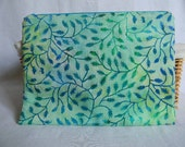 Green and Blue Batik Large Zipper Bag, Zipper Pouch, Makeup Bag, Pencil Pouch