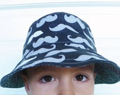 Reversible Bucket Hat--Hipster Moustaches and Cross Hatching Print Black White and Gray