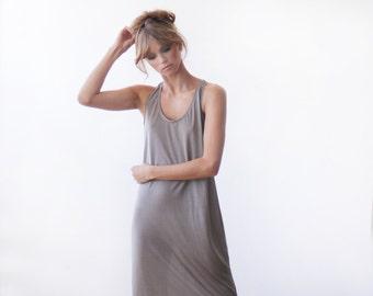Maxi length cut-away taupe dress, Maxi summer dress