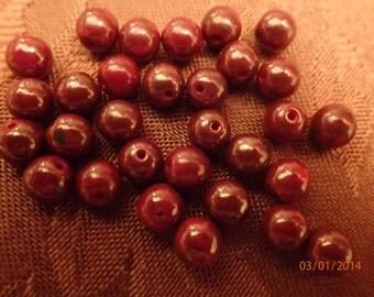 Vintage 1960's Brick Red Luster Round Beads/30 Beads 6mm/ West German/PJsBeadedEagle