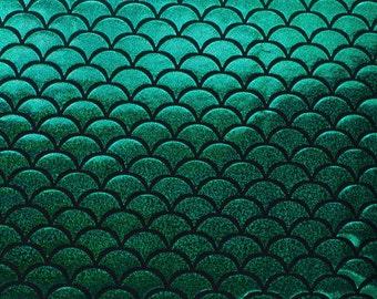 Mystic Hologram Jumbo Mermaid Fish Scale Stretch Spandex Green 58 Inch Fabric by the Yard, 1 yard