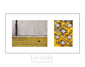 Street at Your Feet Photo Duet, Yellow, Grey, Black, Contemporary Art, Modern Decor, Simple Zen