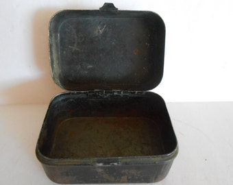 Antique WW1 Black Heavy Tin Container Box
