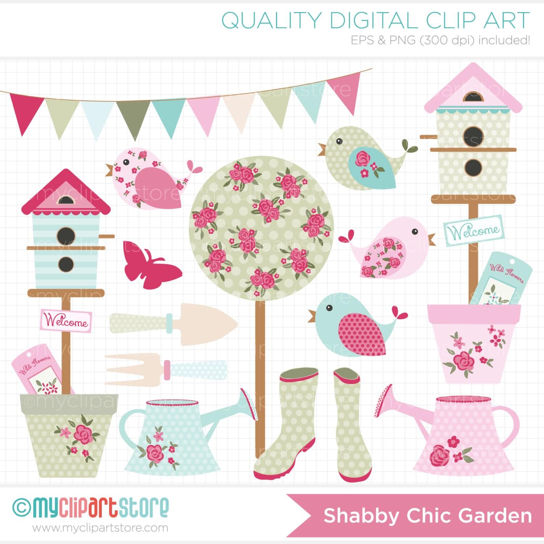 Clipart Shabby Chic Garden gardening clipart bunting