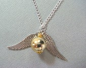 Harry Potter Necklace / USA Golden Snitch inspired wing silver necklace charm necklace
