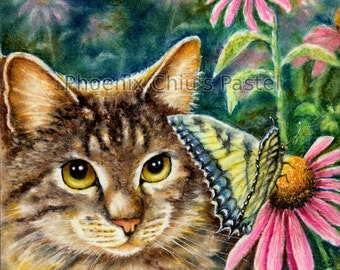 Brown Tabby Cat Art - Brown Tabby Cat With Daisies- Greeting Card By Phoenix Chiu