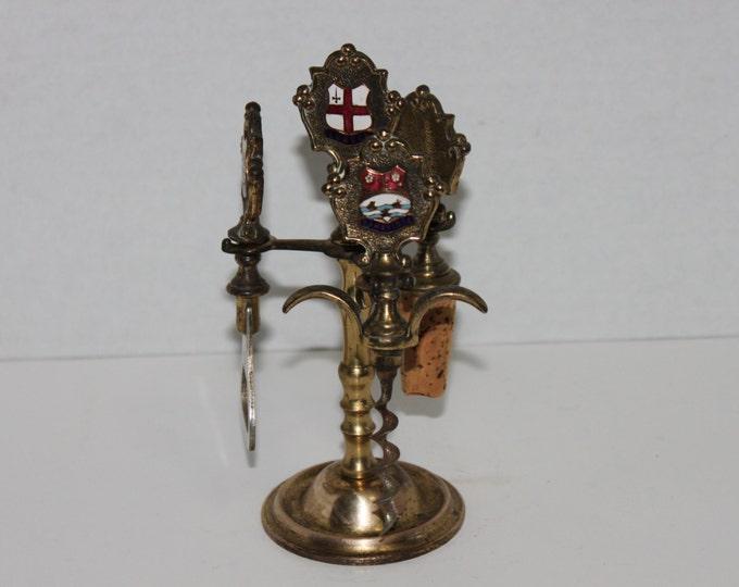Vintage English Brass Barware Set