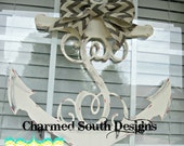 Wood Anchor Monogram Door Hanger. Beach decor, Charmed South Design, lake house decor