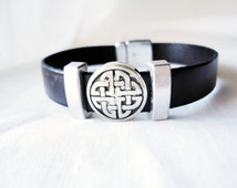 Celtic bracelet for men or women,  Unisex, Men leather jewelry, Celtic love knot bracelet,  Irish jewelry