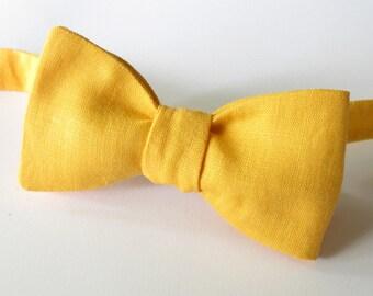 Mens bowtie - egg yolk yellow linen bowtie -  classic self tie bowtie