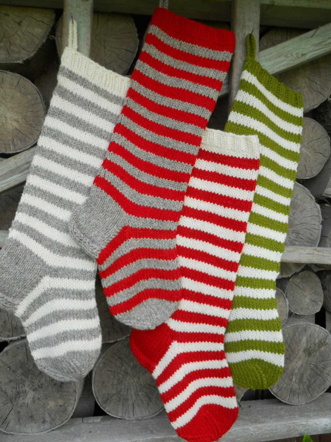 Knit Christmas Stockings 22 Personalized Hand knit Wool