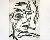 original etching, Self Portrait