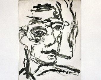 Original etching, Self Portrait Smoking