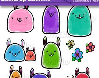 Gumdrop Bunnies Clipart & Bottlecap Set