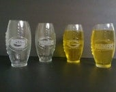 Set of 4 Green Bay Packers NFL 23oz Football Shaped Mugs Glasses Tumblers with Logo and Script of Packers