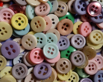 50 Vintage NOS Pastel Doll Buttons Childrens Buttons