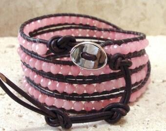 Pink Jade 4mm Faceted Beaded Leather 4-Wrap Bracelet