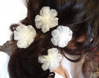 Ivory Flower Wedding Hair Pins, Ivory Bridal Hair Pins, Hair Accessories, Organza Hair Pins, Bridesmaid Hair, Woodland - Set of 4