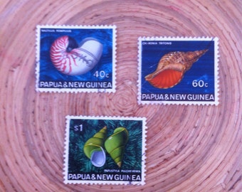 Papua And New Guinea Vintage from 1968 Shell Stamps Set of 3: Gorgeous Used Postage// DIY Art or Jewelry Supply //