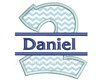 Number Two Split Design 2nd Birthday Applique Machine Embroidery Design second 2 INSTANT DOWNLOAD