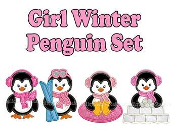 Cute Girl Penguin Set Applique Machine Embroidery Design Christmas sledding, tubing, skiing, ski INSTANT DOWNLOAD