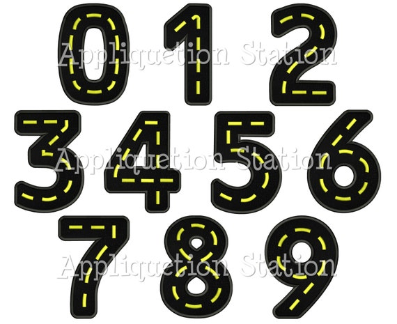 Road Birthday Number Set Applique Machine Embroidery